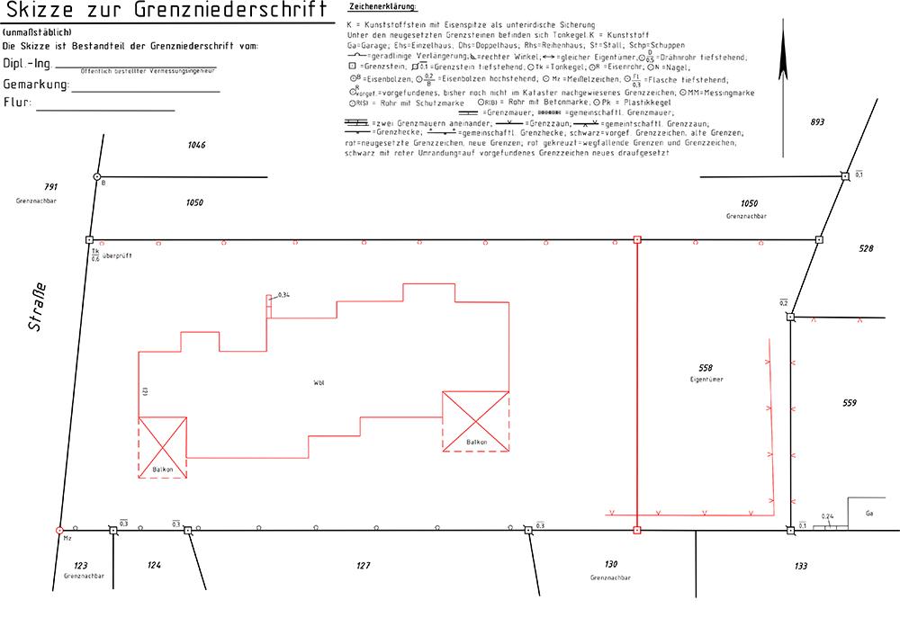 Skizze zur Grenzniederschrift (Teilungsvermessung)